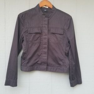 Gap Cropped Utility Jacket Black Pockets Small